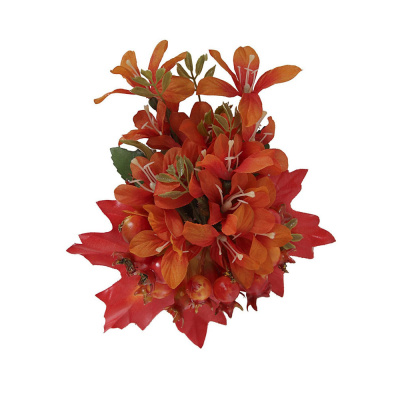 Foto van Collectif, haarbloem en broche Lucille, oranje bloem