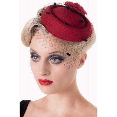 Foto van Vintage hoedje Marilyn burgundy