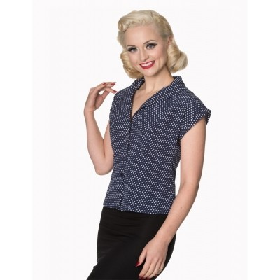 Foto van Blouse Lovely Day Navy Wit
