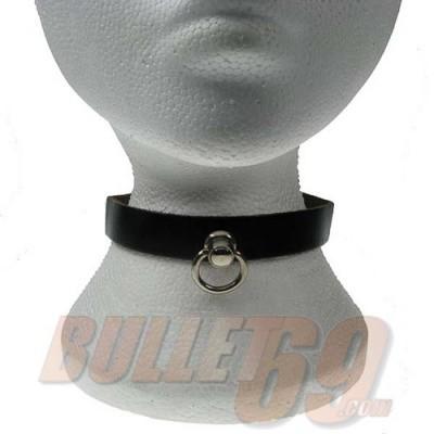 Foto van Leren halsband, 18mm - zwart met kleine zilverkleurige ring