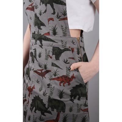Foto van Jurk Pinafore Ribcord, dinosaurus print, grijs