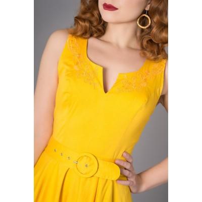 Foto van Jurk Samantha 50's, geel met borduursel