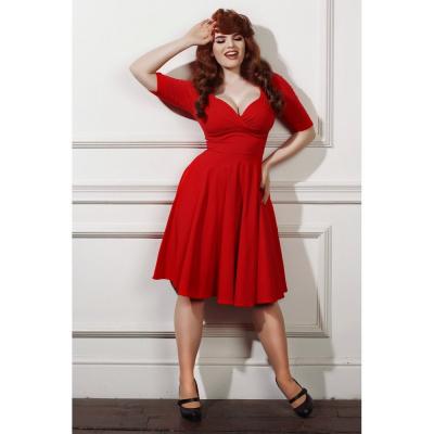 Foto van Collectif | Jurk Trixie Doll rood met driekwart mouw