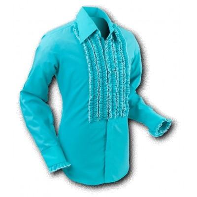 Foto van Overhemd ruche, turquoise white trim