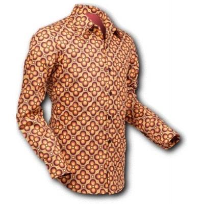 Overhemd Seventies Dotsgrid Brown Yellow