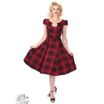 Foto van Jurk Rode Tartan Tea dress