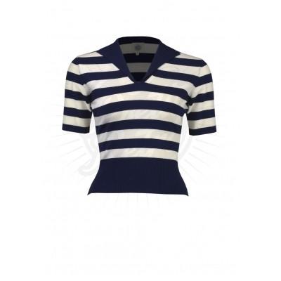 Sweater trui retro blauw-wit gestreept