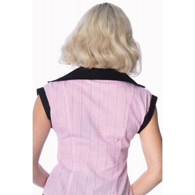 Foto van Blouse Grease pink gingham