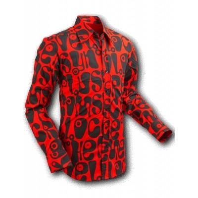 Foto van Overhemd Seventies Moloko Rood Zwart