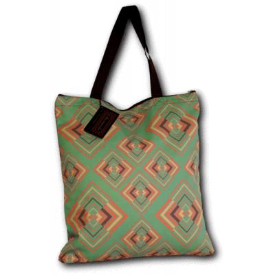 Foto van 1 Handtas retro print Rhombus groen roze