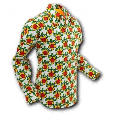 1-Chenaski | Overhemd Seventies Flowergrid Creme
