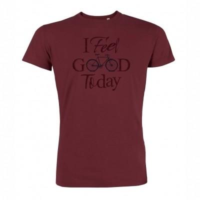 Foto van T-Shirt Bike Feel Good Burgundy bio katoen
