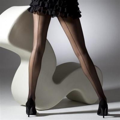 Panty french-heel, zwart met naad
