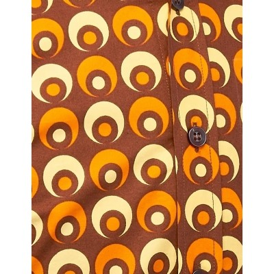Foto van Overhemd Retro Eyeball Bruin Oranje Geel