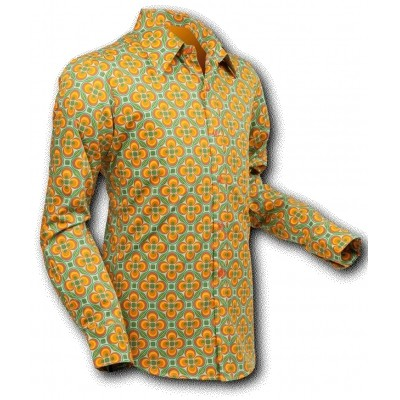 Overhemd Seventies Dotsgrid light-green-orange