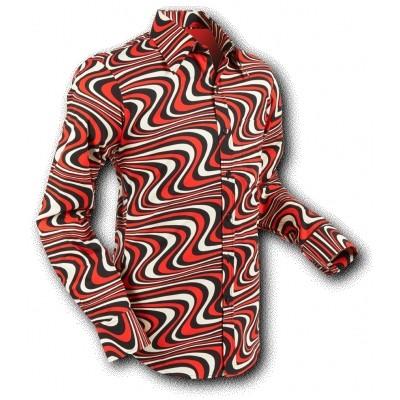 Foto van Overhemd Seventies Wavyline Black Red Cream