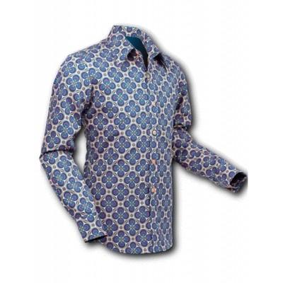 Overhemd Seventies Dotsgrid Creme Petrol