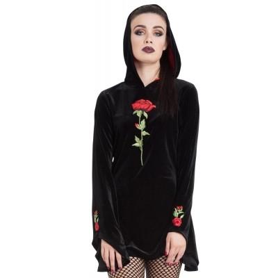 Hoodie van zwart fluweel met geborduurde rozen