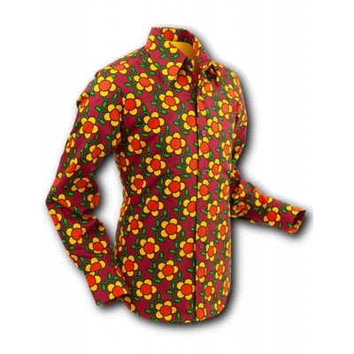 Foto van Overhemd Seventies Flowergrid Bruin
