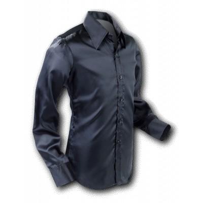 Overhemd 70s Basic Black-Satin