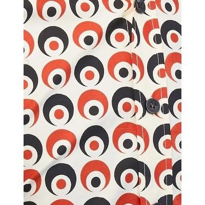 Foto van Overhemd Seventies Retro Eyeball Creme Zwart Rood