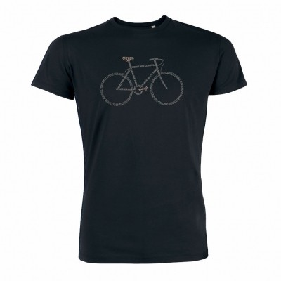 T-Shirt Bike Script Black bio katoen