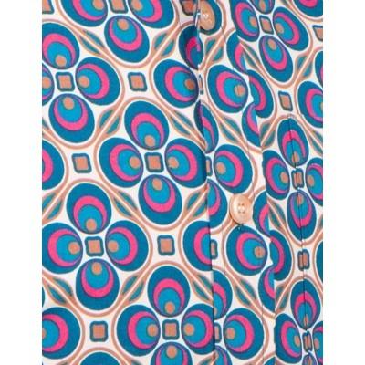 Foto van Overhemd Seventies Dotsgrid Creme Petrol