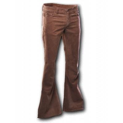 Foto van Ribcord retro broek bruin, wijde pijp lange lengte