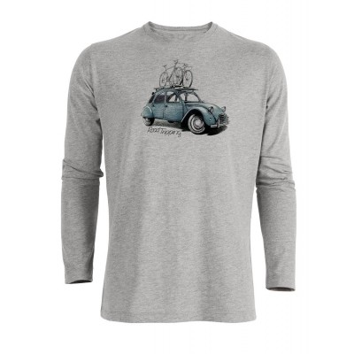 T-Shirt Lange mouw Bike Roadtripping grijs bio katoen