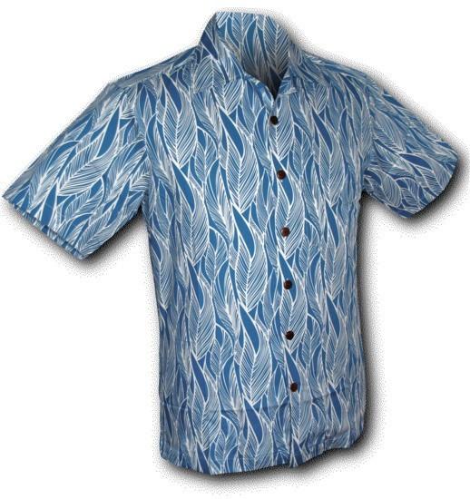 Chenaski | Overhemd korte mouw, Leaves, blauw wit