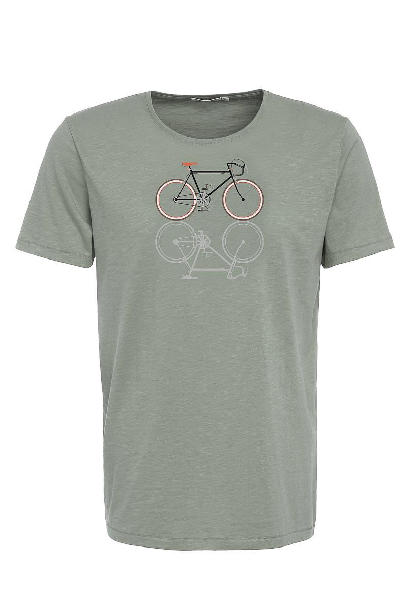 Green Bomb | T-shirt bike shape, bio katoen olijf groen