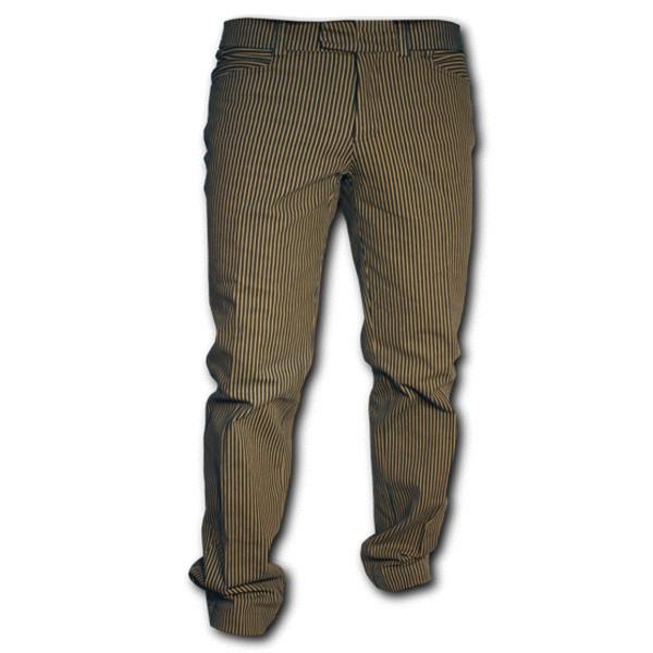 Chenaski - Retro broek recht model, denim met zand-strepen