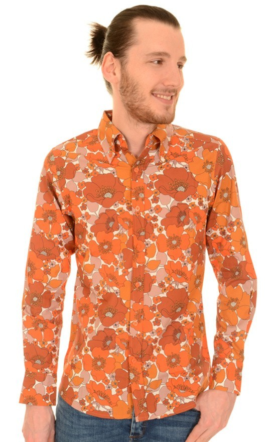 Overhemd met lange mouw, koper bruine bloemen