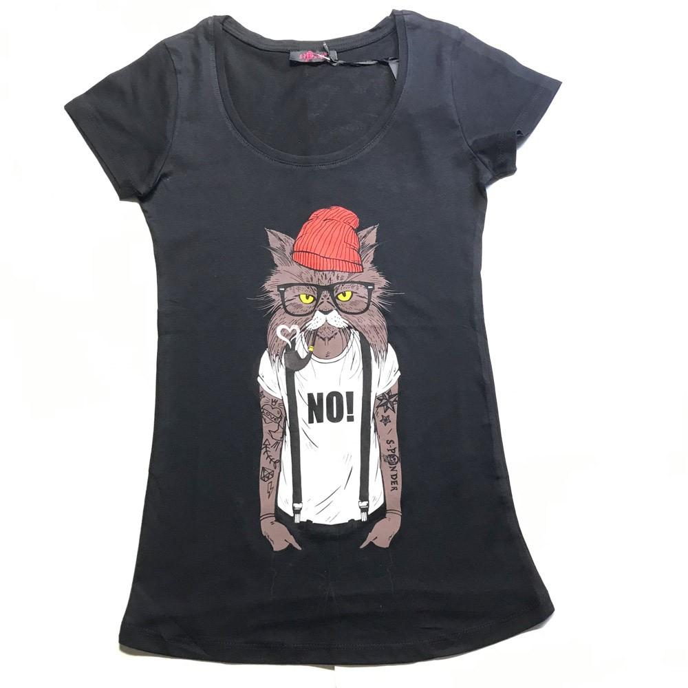T-shirt Red hat cat, zwart