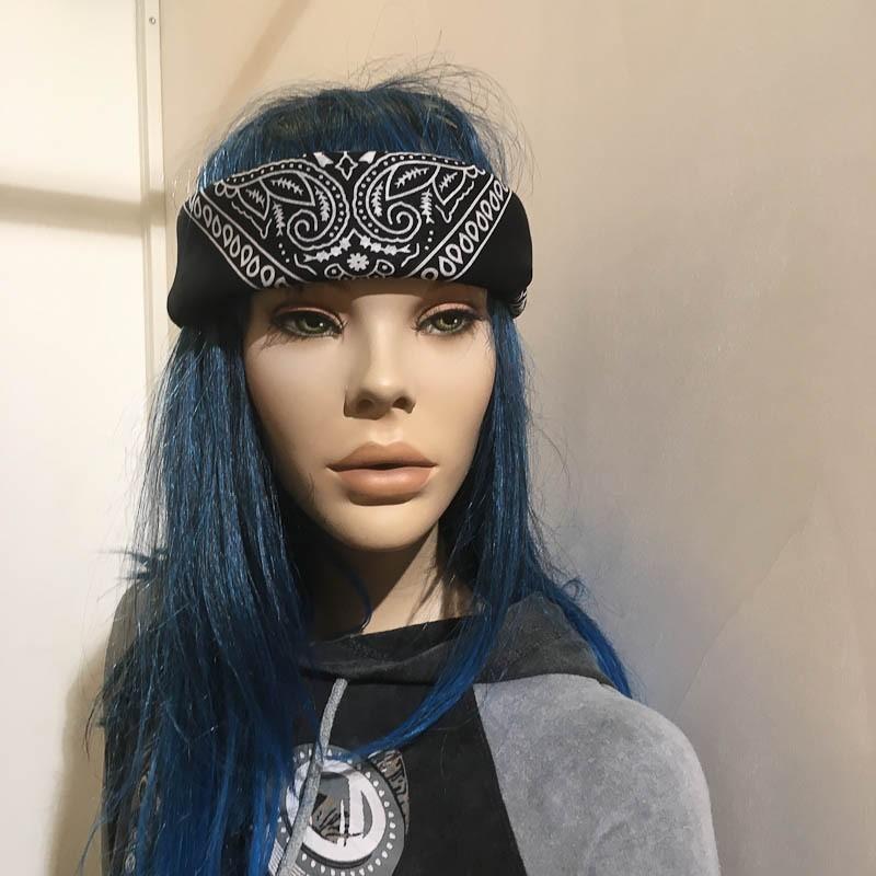 Bandana haarband en sjaal met paisley patroon, zwart-wit
