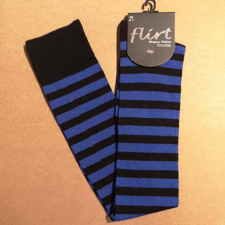 Flirt | Overknee sokken zwart donkerblauw gestreept