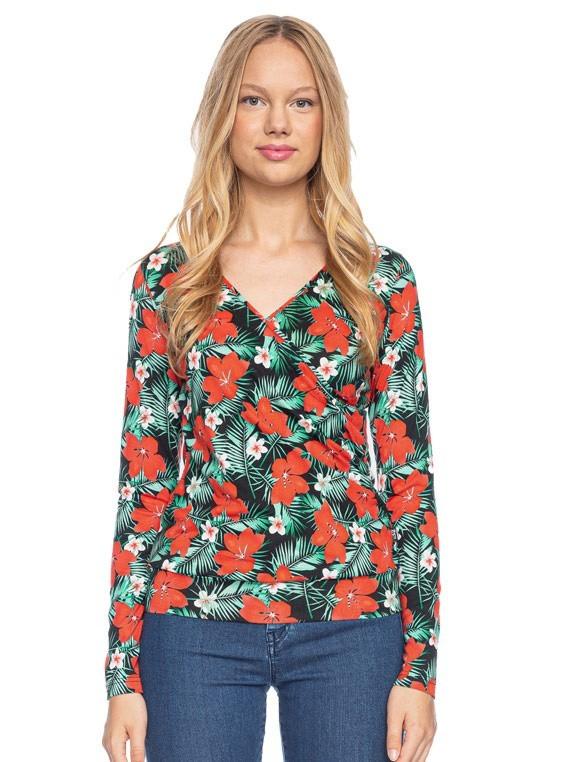 Ato Berlin, overslag shirt Emma met tropische bloemen print