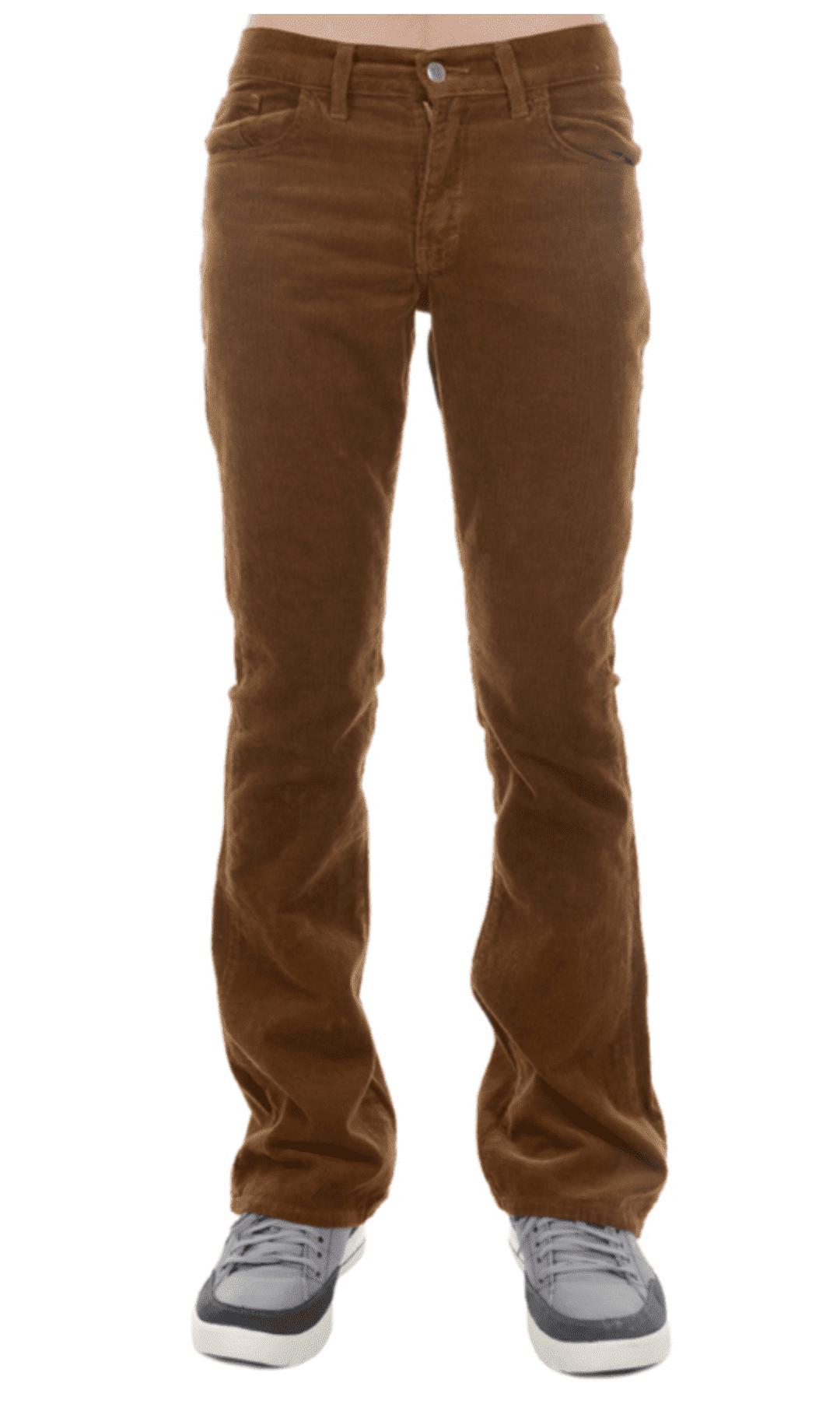 Ribcord broek, met wijde pijp tobacco bruin