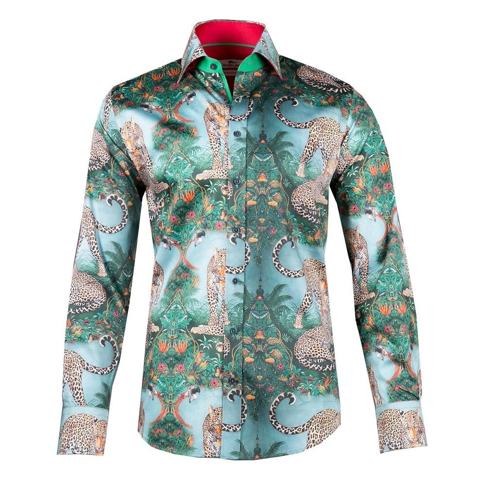 Overhemd leopard print, groen
