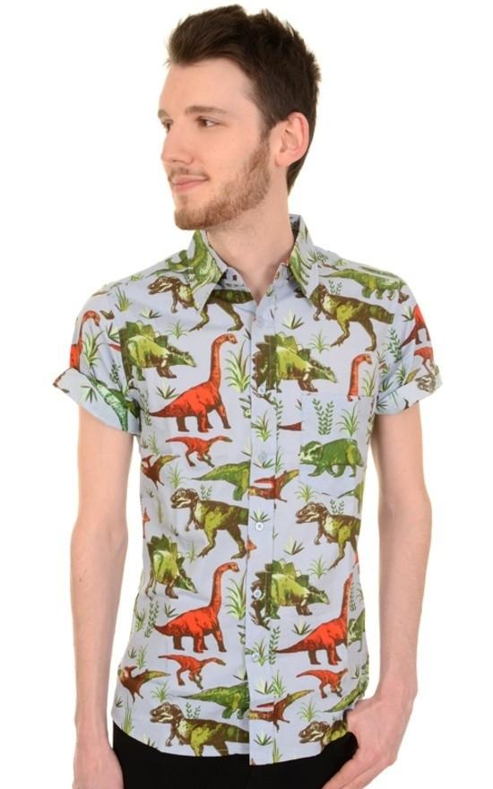 Overhemd korte mouw retro dinosaurus