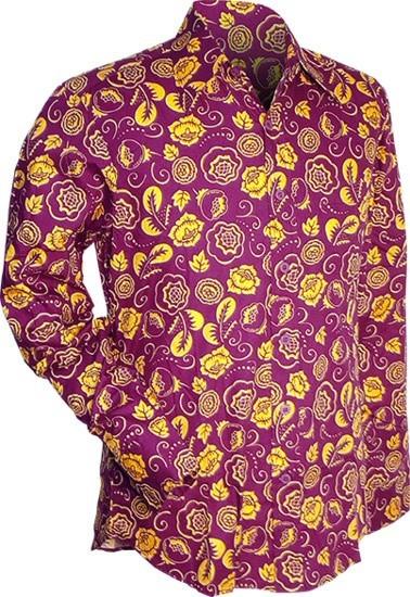 Overhemd Outline flowers violet geel