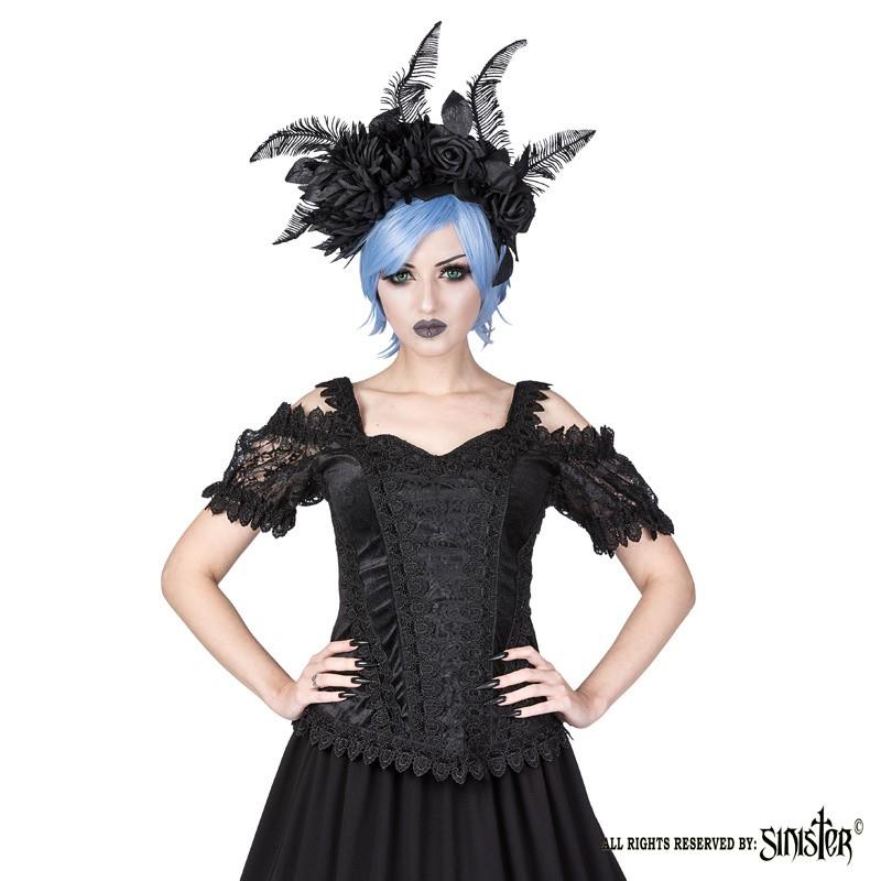 Top Olivia, zwart fluweel met satijn en pofmouwen