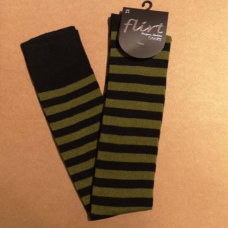 Flirt | Overknee sokken zwart donkergroen gestreept