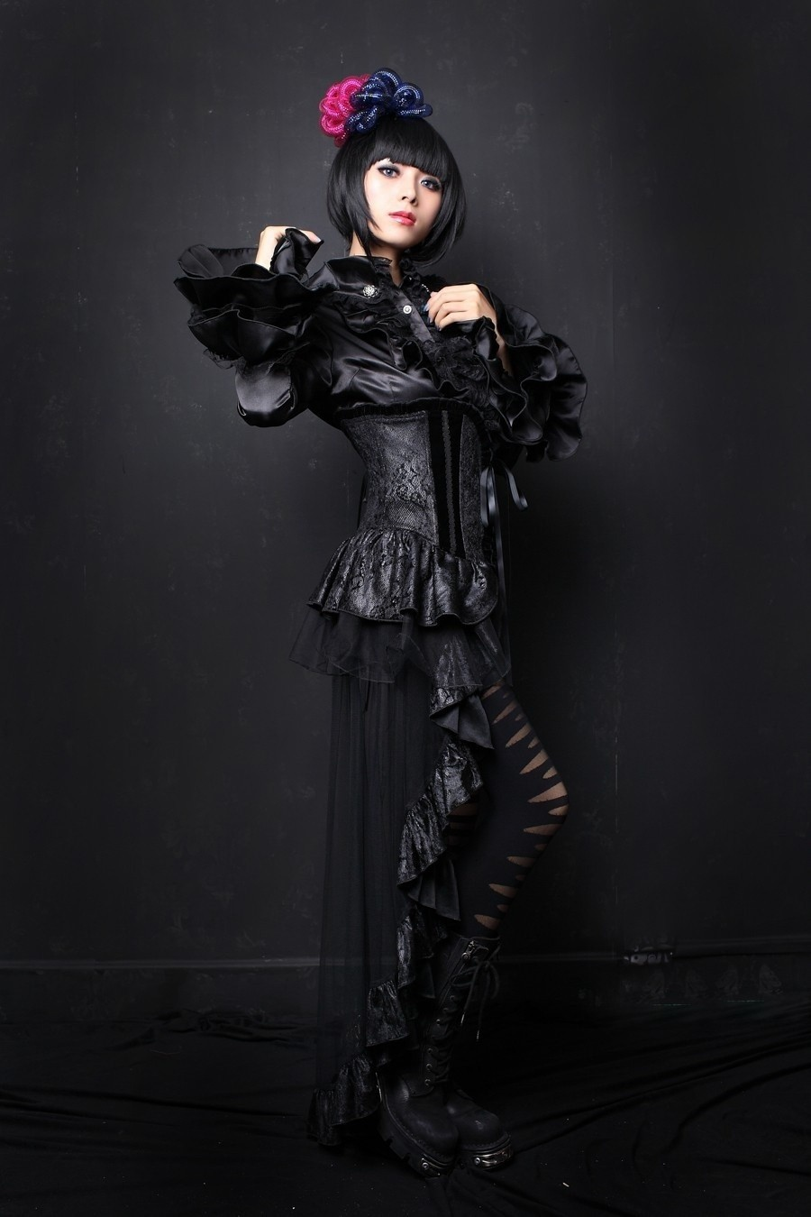 Corset met asymmetrische gothic rok