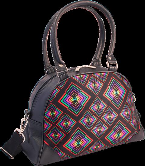 Handtas bowlingbag model, Rhombus zwart met kleurtjes