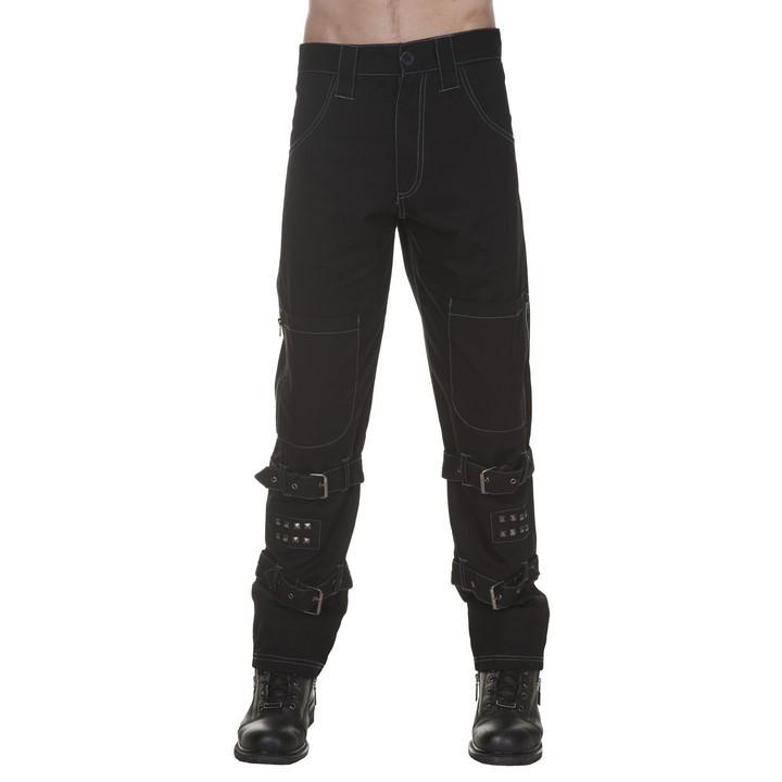 Broek met zakken op de knie, studs en gespen, zwart