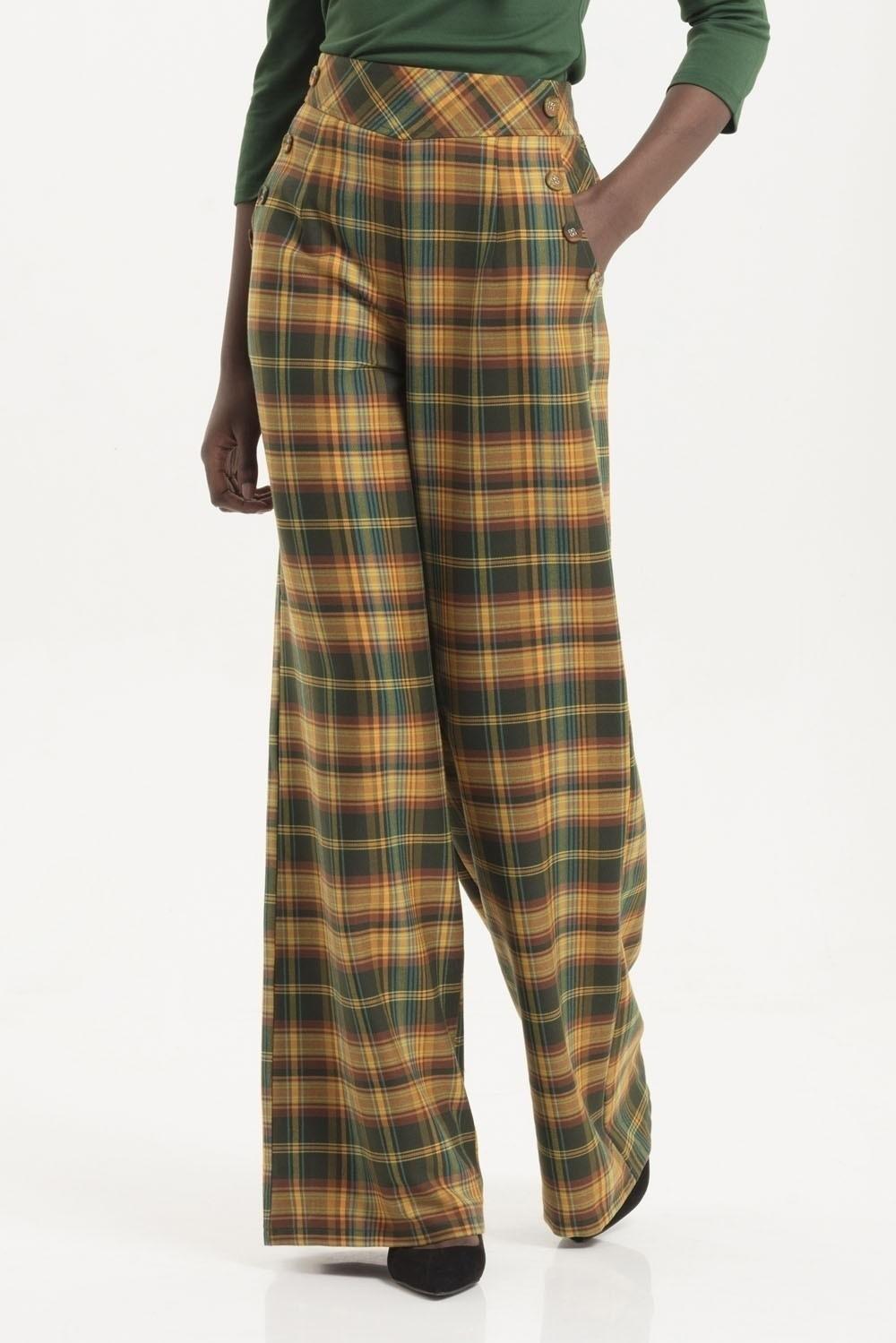 Broek hoge taille Nancy, tartan geel en groen