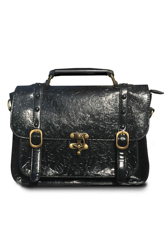 Handtas Steam Skull, zwart met bronskleurige details