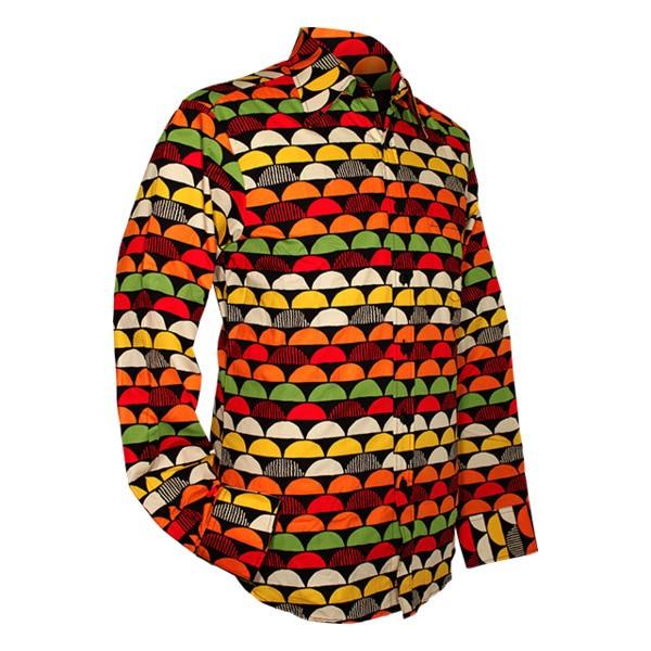Chenaski - overhemd seventies, Sunset zwart en oranje