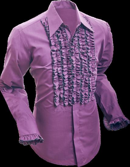 Chenaski | Overhemd ruche, aubergine dark grey trim
